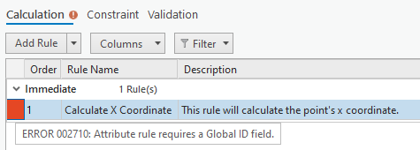 Image showing Error 002710: Attribute rule requires a Global ID field.