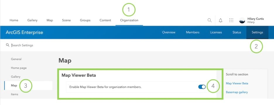 Option to disable or enable Map Viewer Beta in ArcGIS Enterprise from the organization tab
