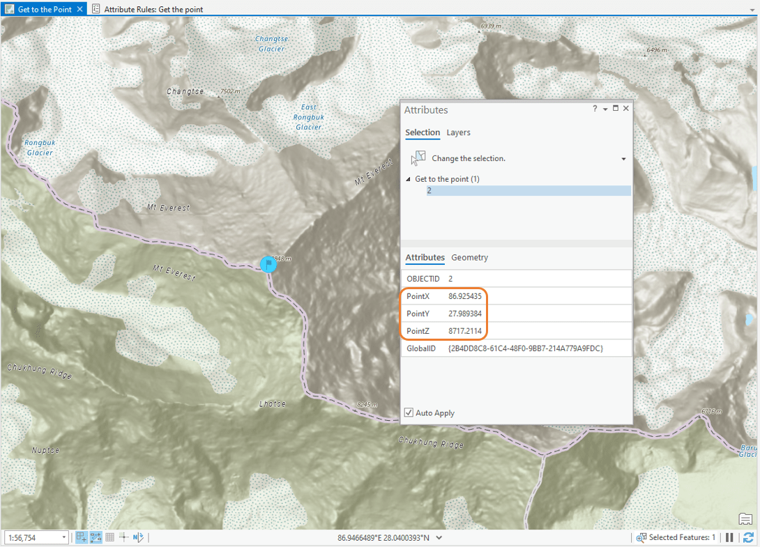 Image demonstrating that the PointX, PointY, and PointZ fields are automatically populated when a point is created for Mt. Everest.