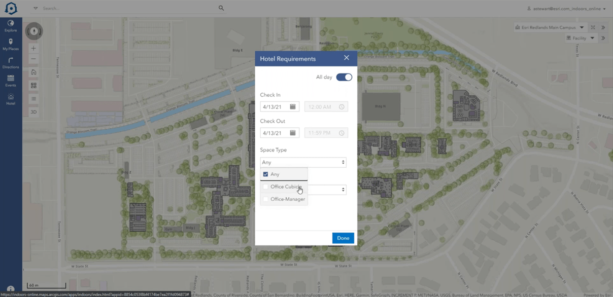 ArcGIS Indoors office hotel booking web viewer