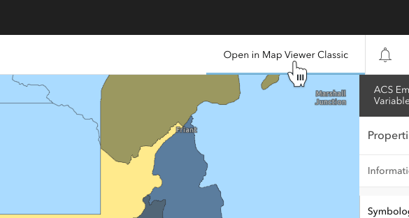 Map Viewer interface showing option to open in Map Viewer Classic