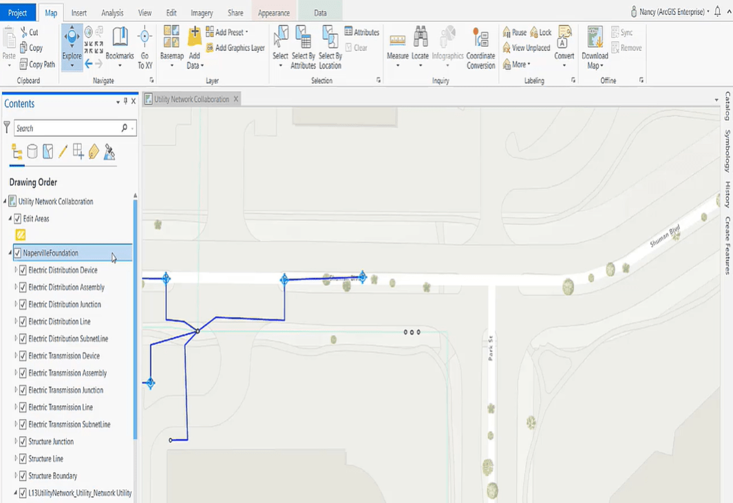 ArcGIS Pro project referencing the Naperville Foundation Utility Network and has a demo SOI enabled on it.