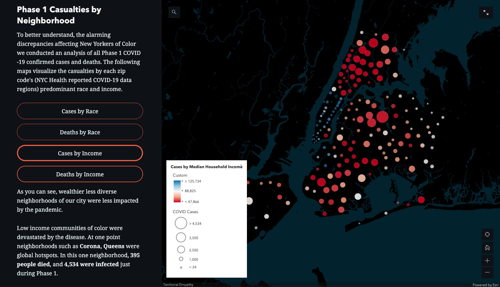 detailed map of NYC showing number of covd-19 cases