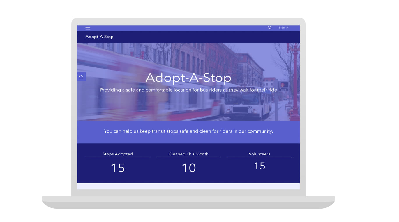 A laptop displaying a Hub site built using the Adopt-a-stop template.