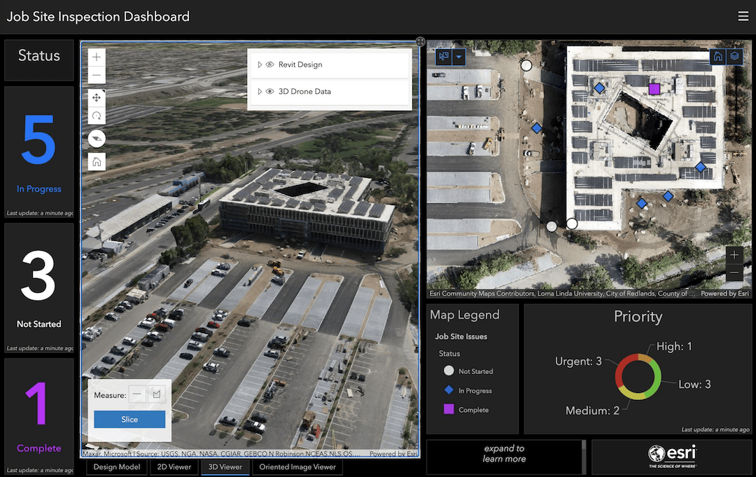 3D Mesh displayed with other metrics on an ArcGIS Dashboard