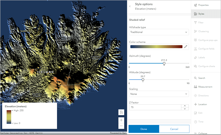 Shaded relief imagery style in Map Viewer