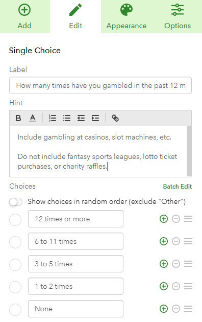 Question editor in Survey123 for Single Choice questions.