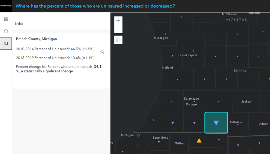 """Popup for Branch County, MI says """"2010-2014 Percent of Uninsured: 44.5% (+/- 1.9%), 2015-2019 Percent of Uninsured: 10.4% (+/- 1.1%). Percent change for Percent who are uninsured: -34.1%, a statistically significant change."""""""