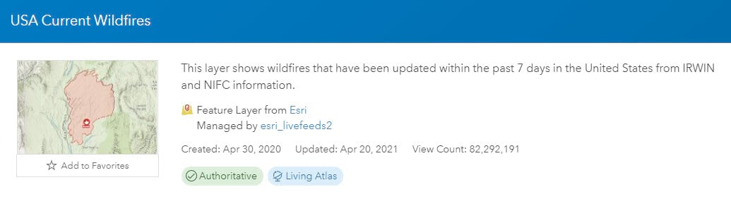 USA Wildfire Feed Views