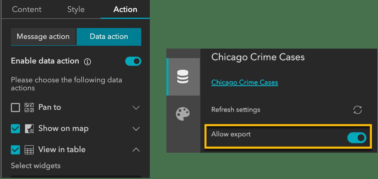 Configure data actions