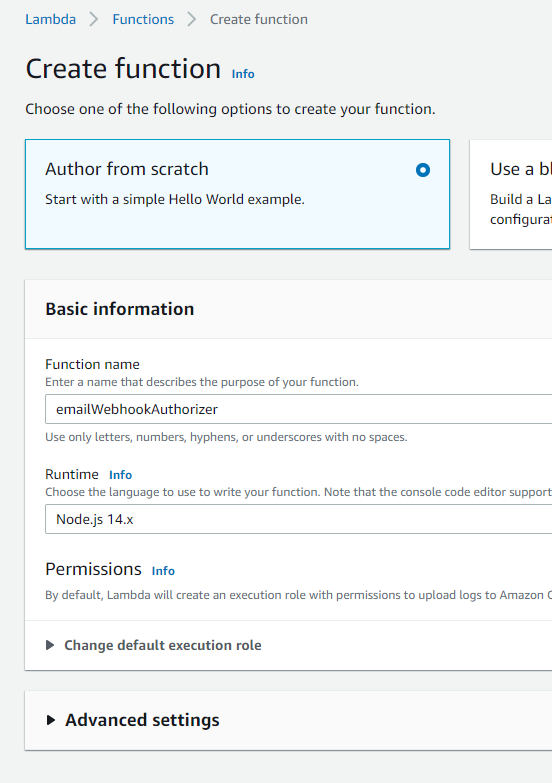Completed inputs for creating the authorizer function in Lambda.