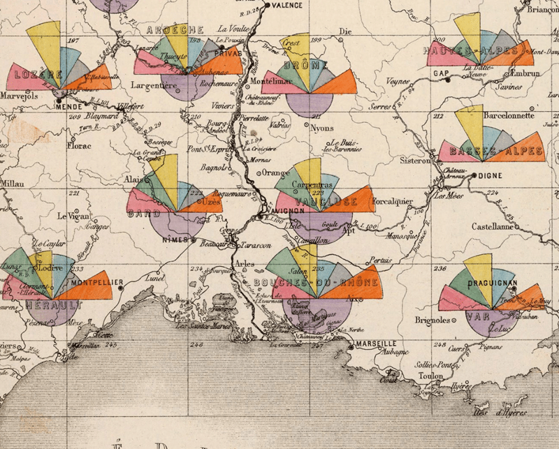 Well balanced solid colours used for categorical data relating to maintenance of French roads, by region in 1888, shown using polar area charts.