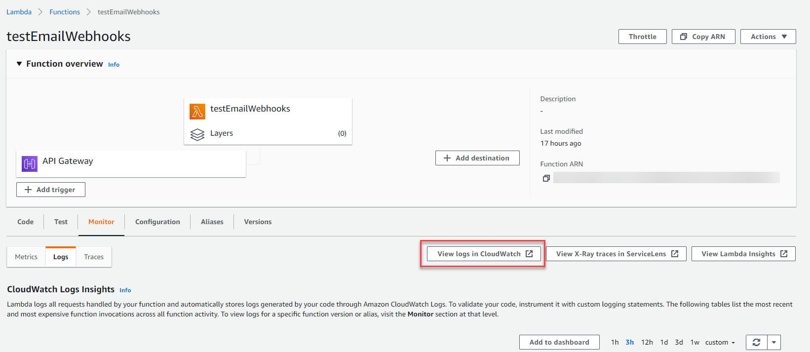 The selection for View logs in CloudWatch are highlighted in red on the Lambda configuration page.