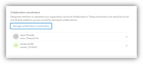View the manage collaboration coordinator menu