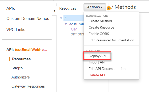 The deploy API action is highlighted in red within the configuration page.