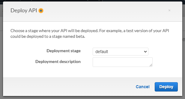 The default pop-up when deploying an API Gateway to a stage.