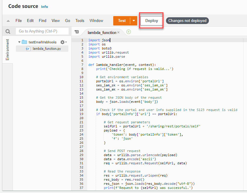 Deploy text highlighted in red to save the Lambda function changes.