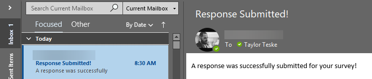 The email response from a successful S123 webhook.