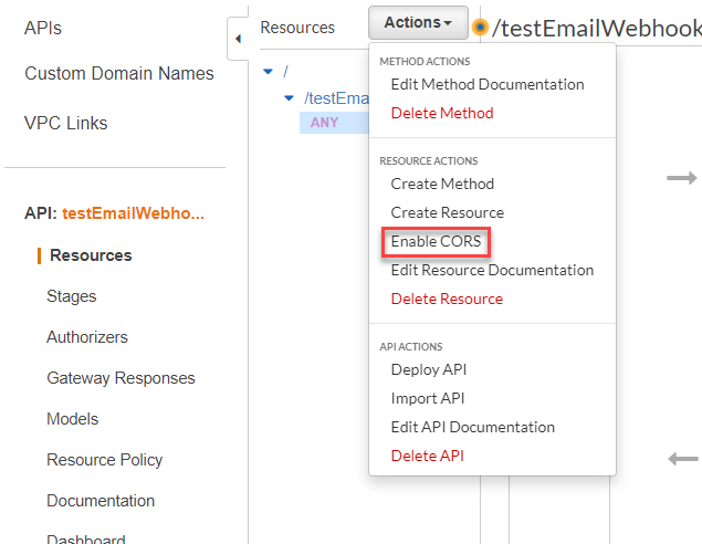 Enable Cors button is highlighted in red in the API Gateway configuration page.