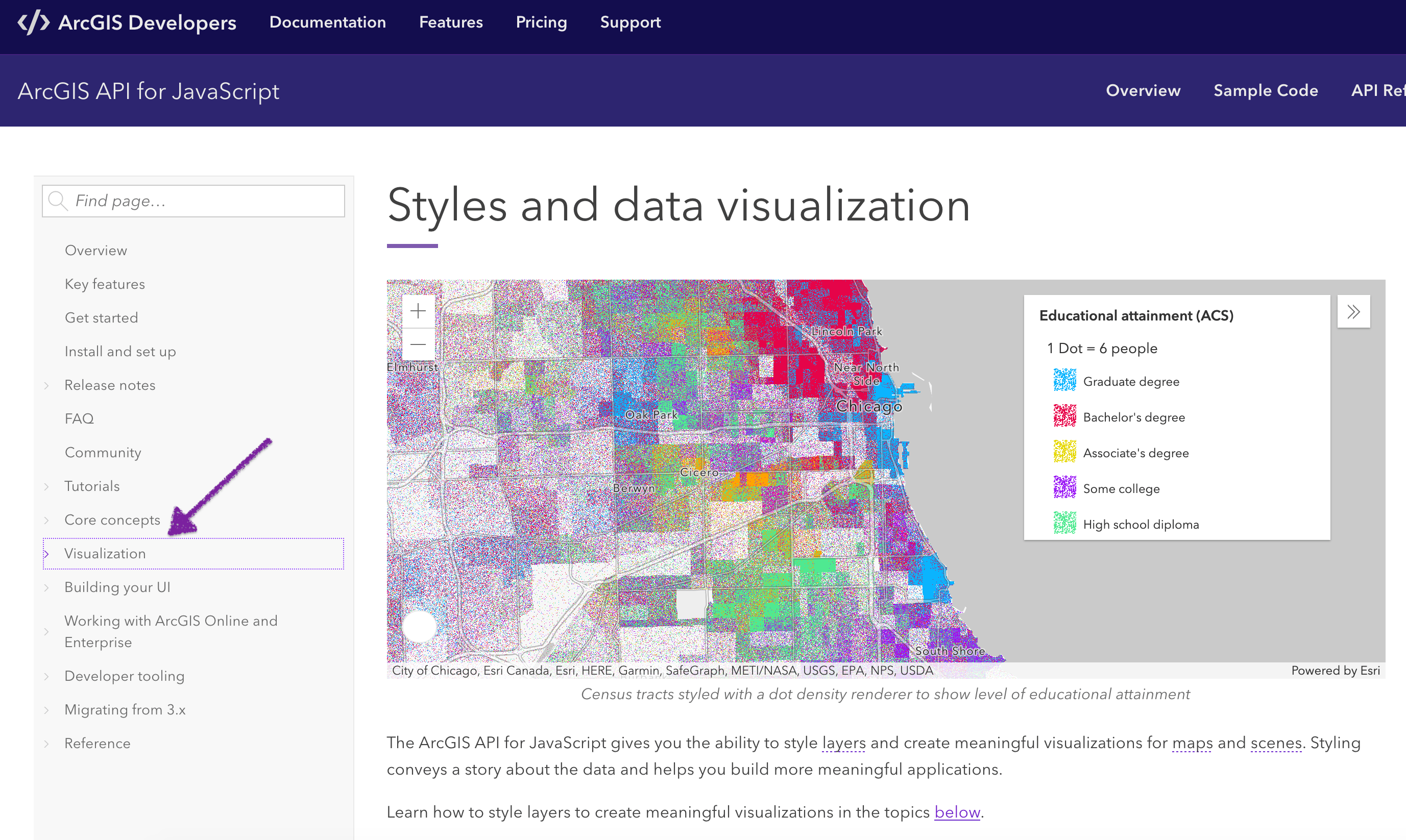 The data visualization home page in the ArcGIS JS API documentation.