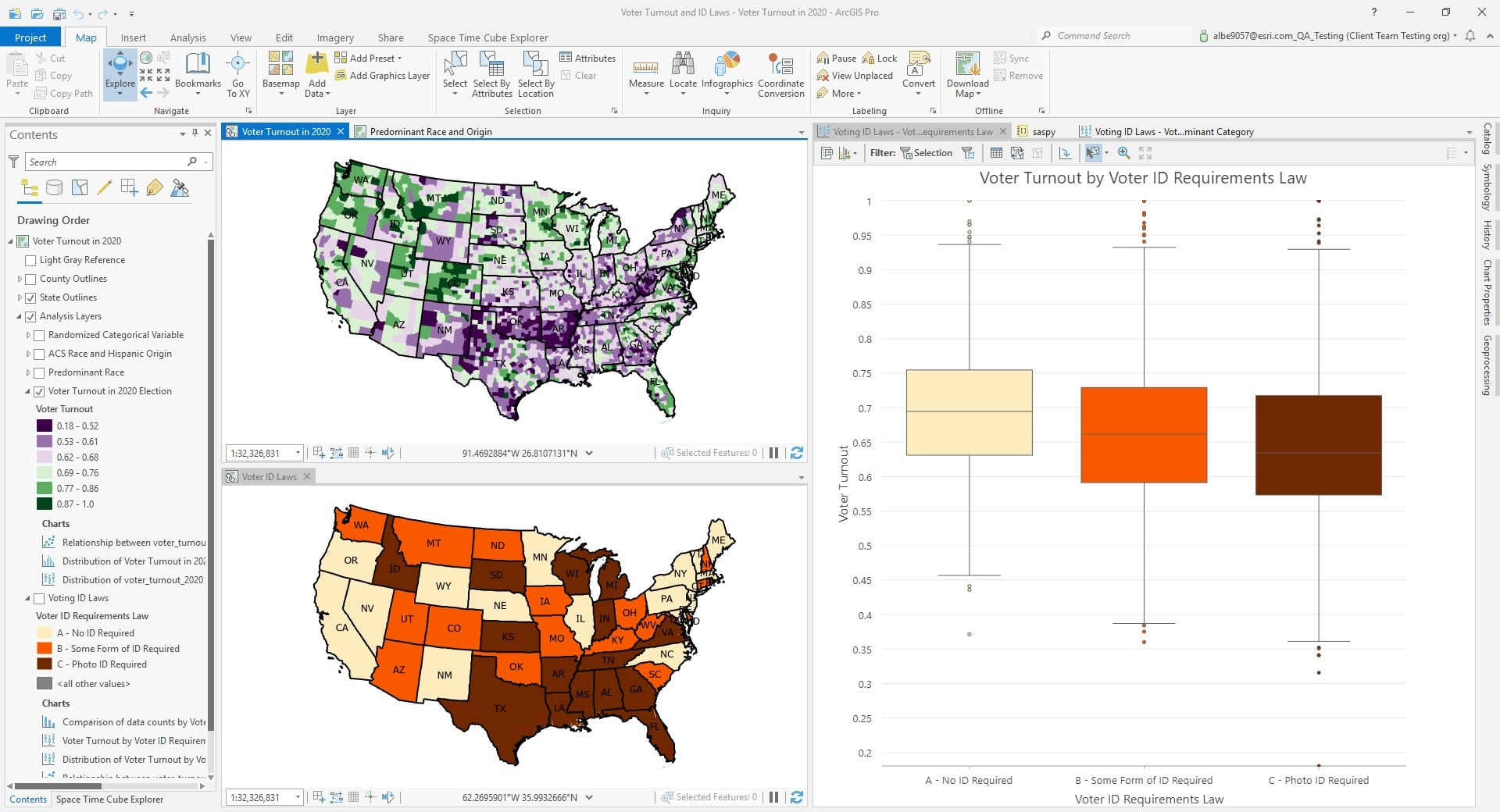 ArcGIS Pro and maps of voter turnout and voter ID laws