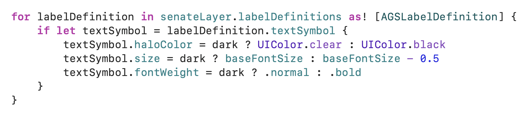 Swift code for updating labels