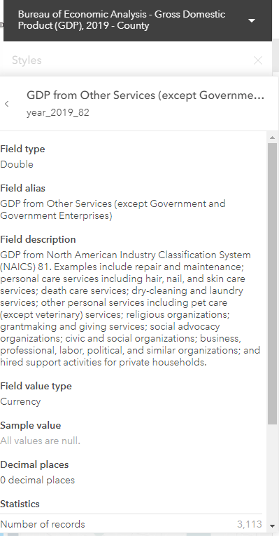 Screenshot of information provided. Field alias: GDP from Other Services (except Government and Government Enterprises). Field description: GDP from North American Industry Classification System (NAICS) 81. Examples include repair and maintenance; personal care services including hair, nail, and skin care services; death care services; dry-cleaning and laundry services; other personal services including pet care (except veterinary) services; religious organizations; grantmaking and giving services; social advocacy organizations; civic and social organizations; business, professional, labor, political, and similar organizations; and hired support activities for private households.