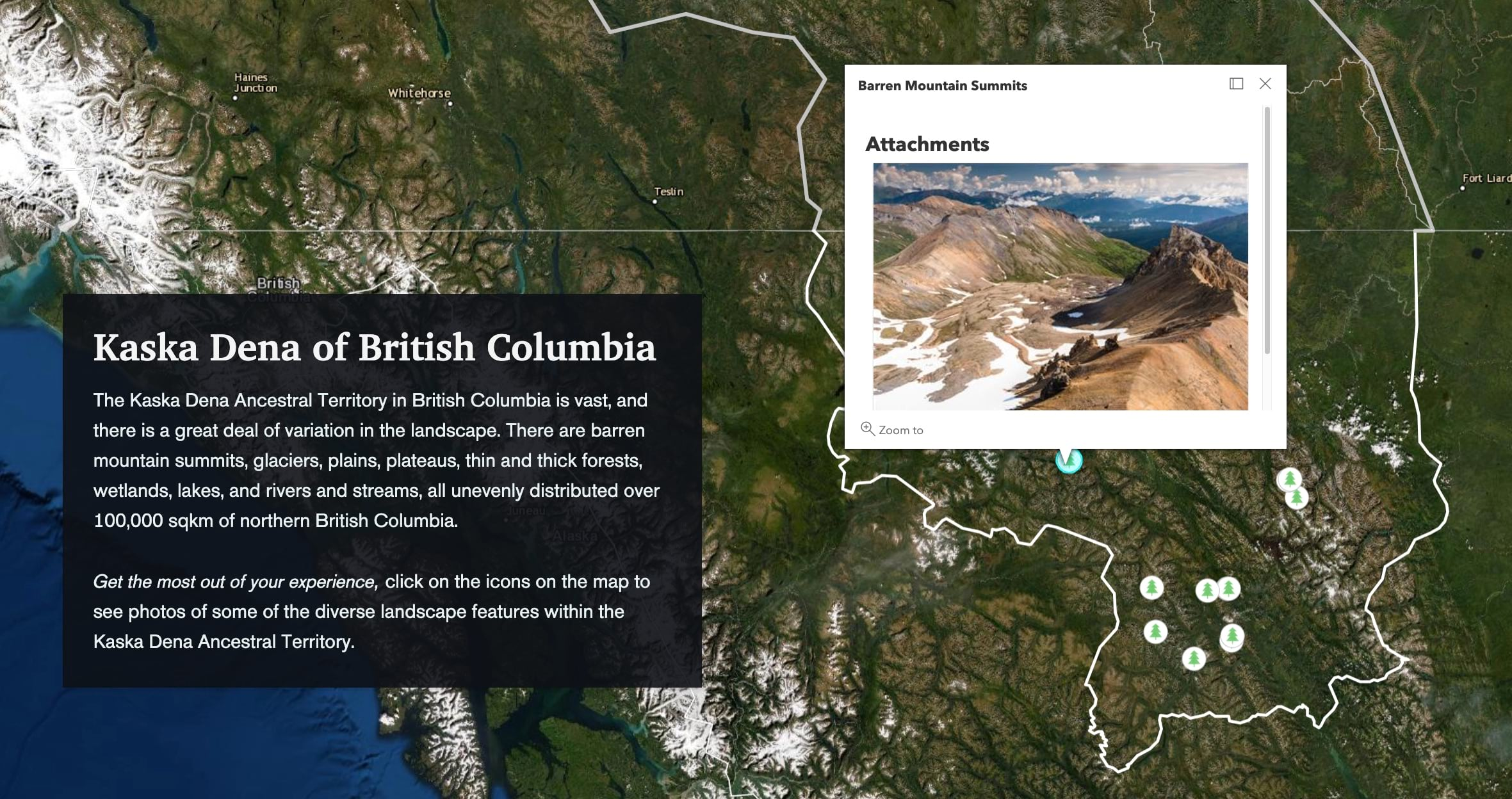 map of Dene territory with photos of locations