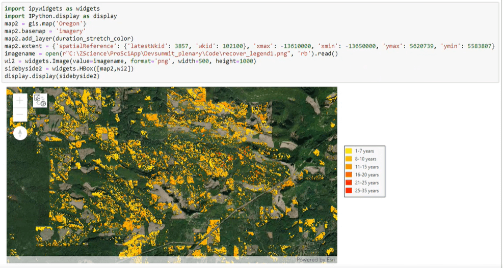 Visualizing forest recovery over time.