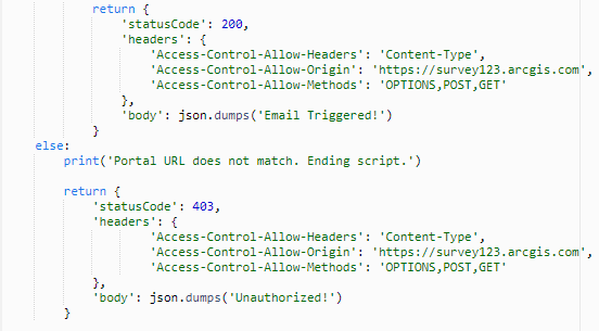 Return statements from the Python Lambda function.