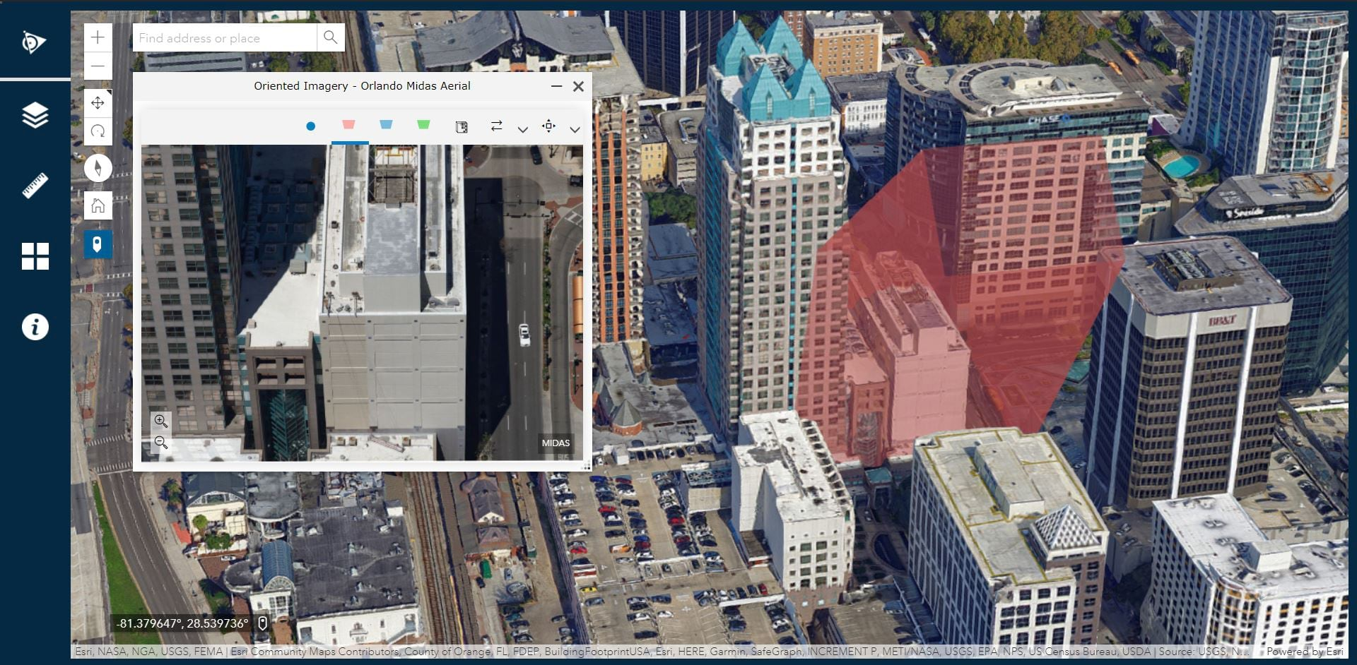 Screenshot of oriented imagery 2.6 example app