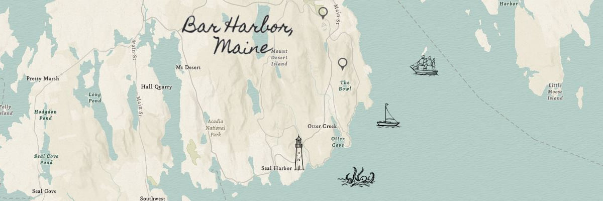 Map of Bar Harbor Maine with features created using a sketch layer