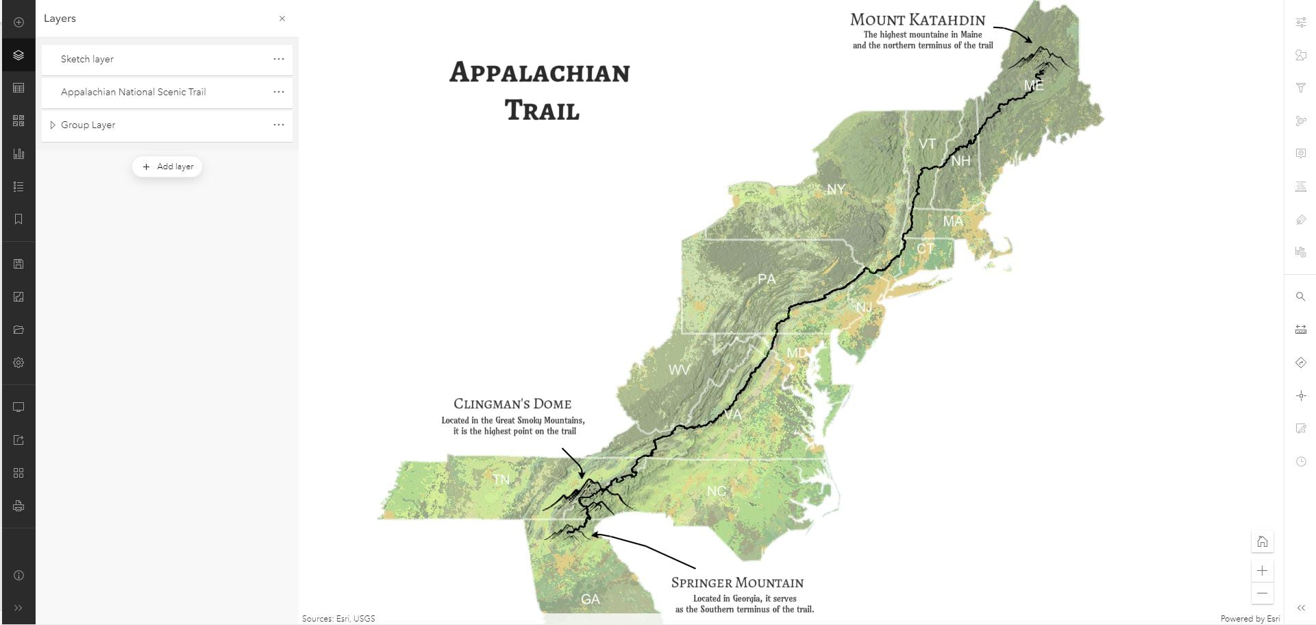 A map depicting the Appalachian Trail using sketch