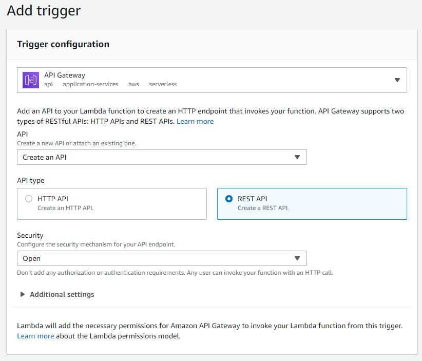 All the completed options for adding a trigger to a Lambda function.