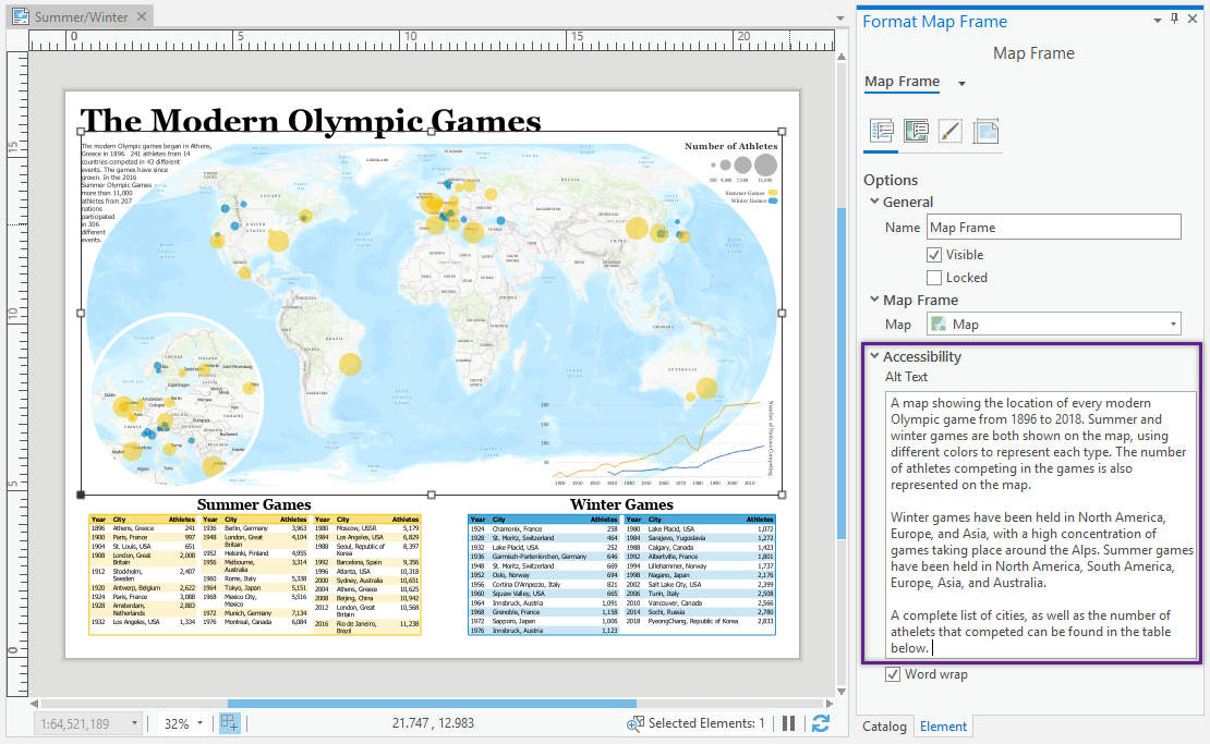A layout in Pro with a map frame selected. The Element pane is open and the alt text box is highlighted, showing where you can add alt text.
