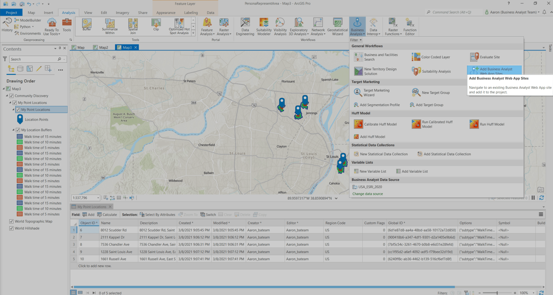 A new workflow for adding sites from ArcGIS Business Analyst Web App to ArcGIS Pro.