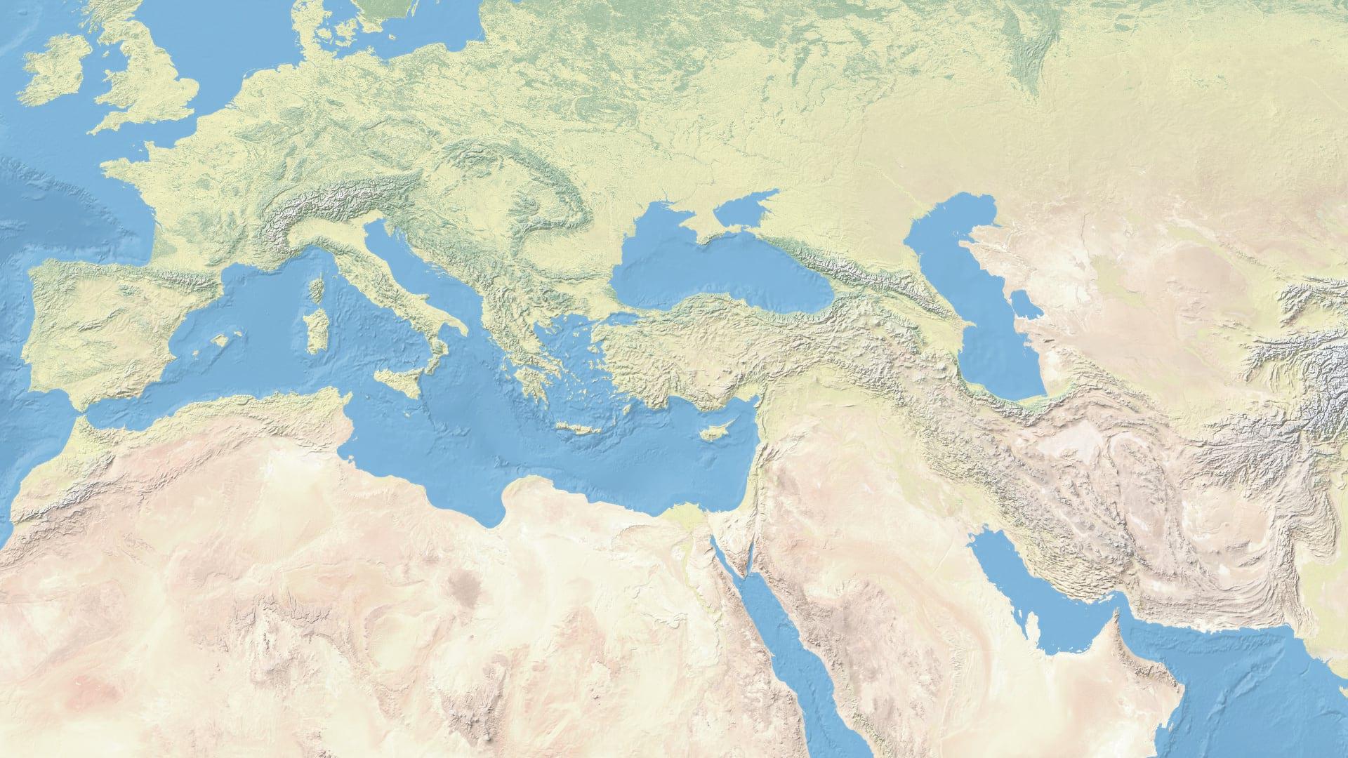 Natural Earth terrain and landcover basemap.