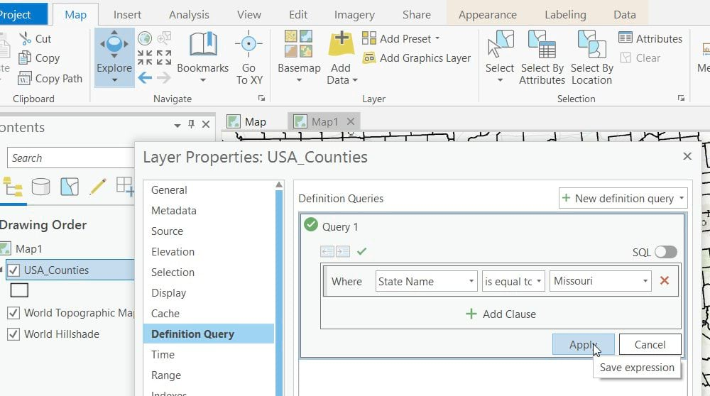 Applying a Definition Query to display only Missouri