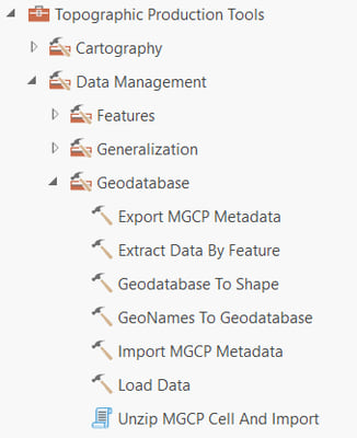 Topographic Production tools Geodatabase toolset