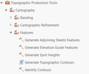 Topographic Production tools Features toolset