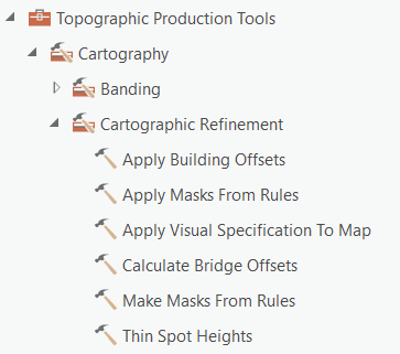 Topographic Production toolset Cartographic Refinement toolset