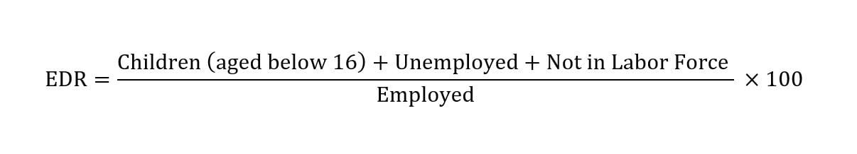 Formula for the EDR: Children (aged below 16) + Unemployed + Not in Labor Force / Employed * 100.
