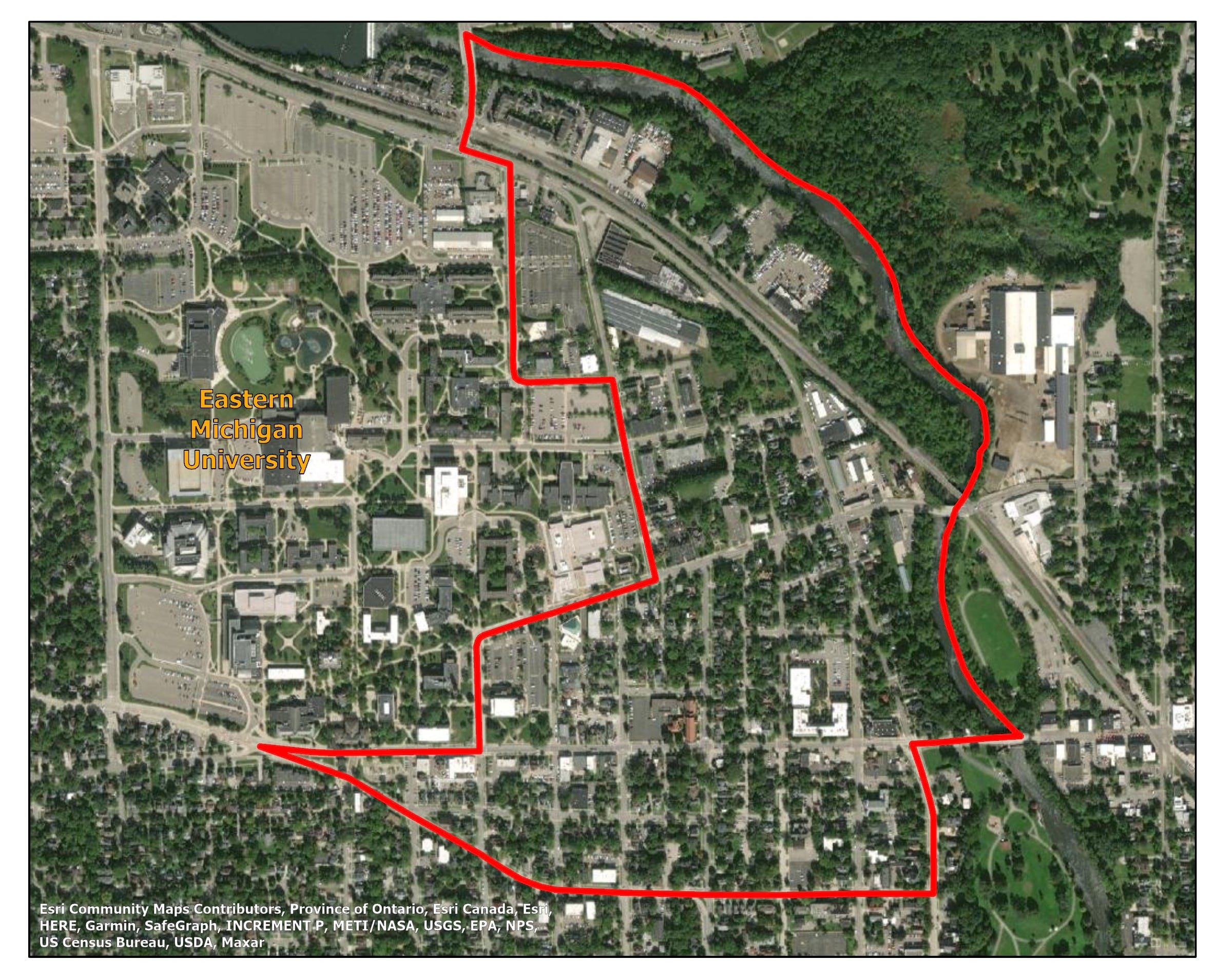 Map displaying the TIGER 2010 boundaries of tract 26161411000 in Ypsilanti, Michigan, which falls next to Eastern Michigan University.