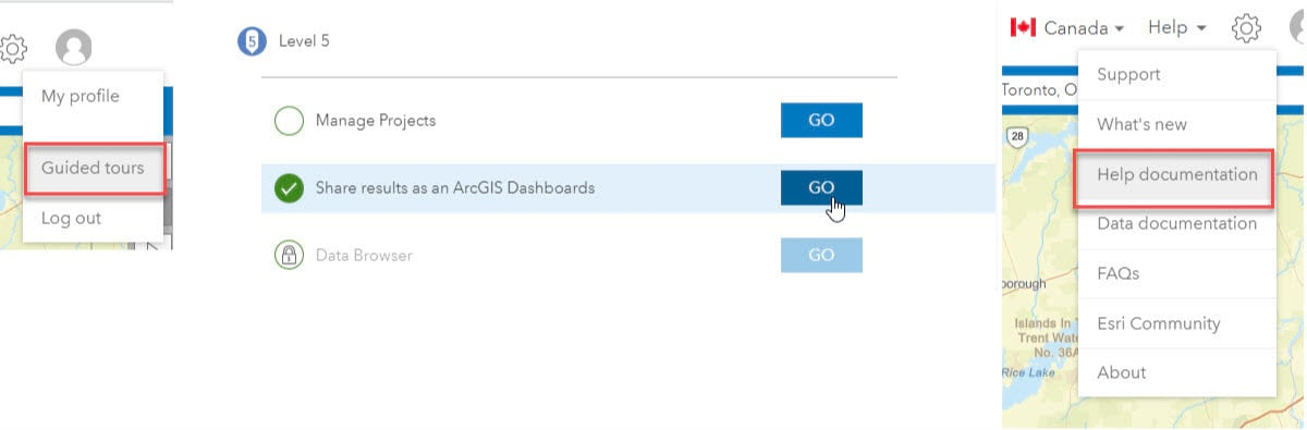 ArcGIS Dashboards guided tour and help documentation