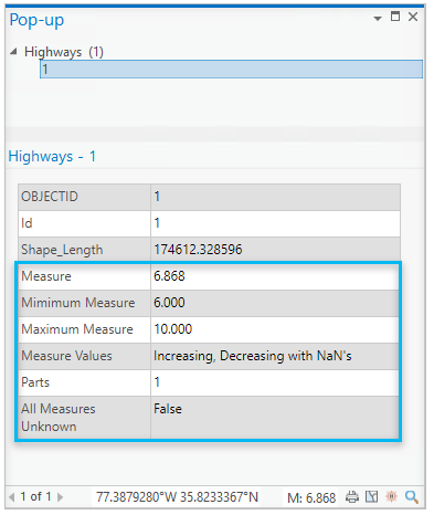 Pop-up displaying measure fields
