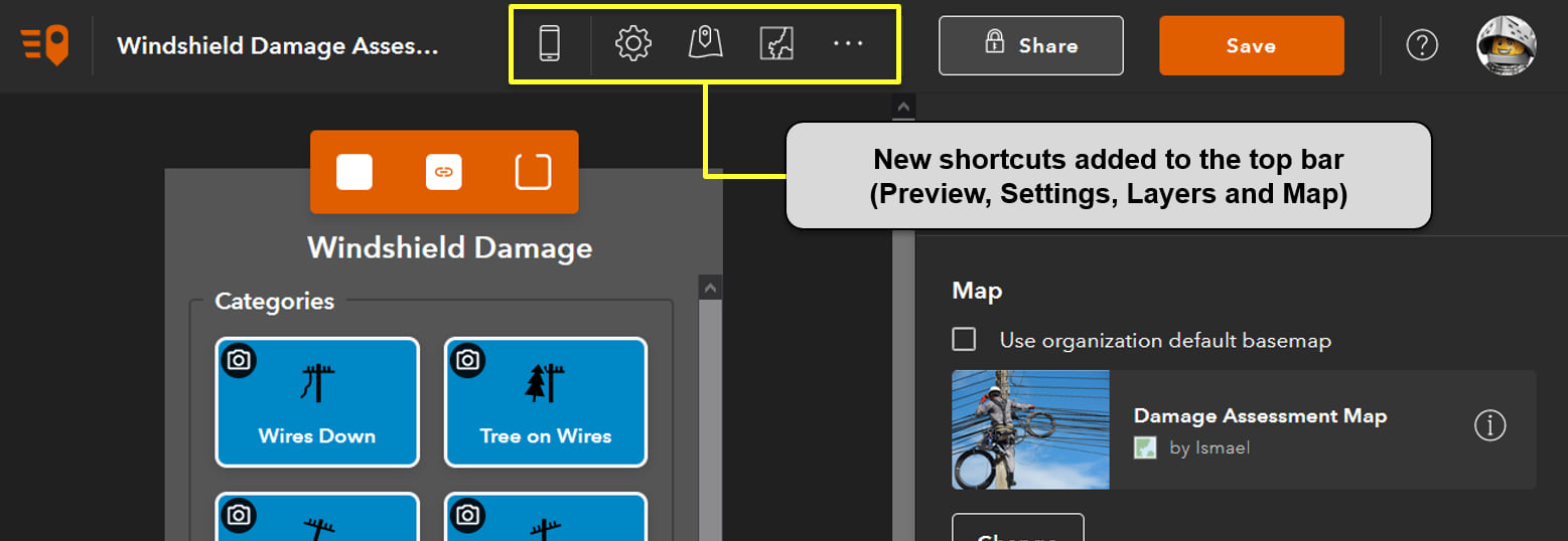 The QuickCapture designer top bar now includes shortcuts to the Layers, Settings and Map configuration.