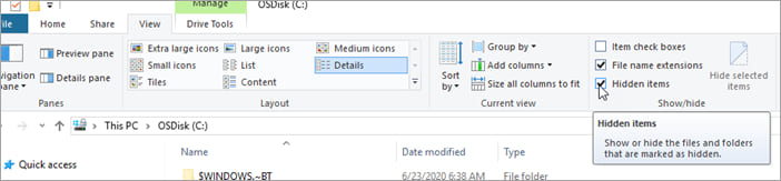Clicking on 'Show Hidden' in Windows Explorer to show hidden folders.