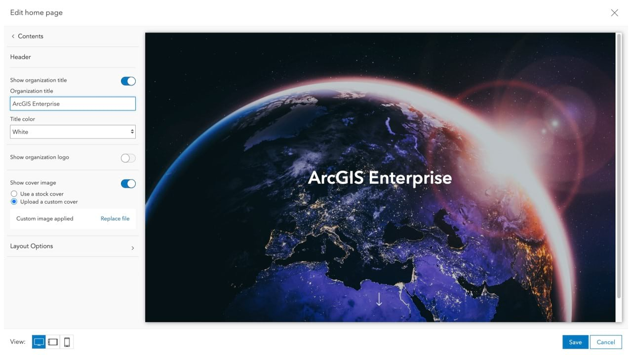 Image of earth on the new ArcGIS Enterprise home page editor
