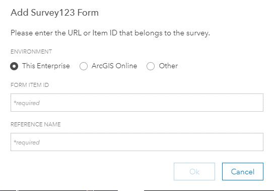 Add Survey123 Form dialog
