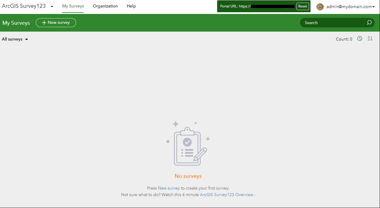 Survey123 Portal Home Page